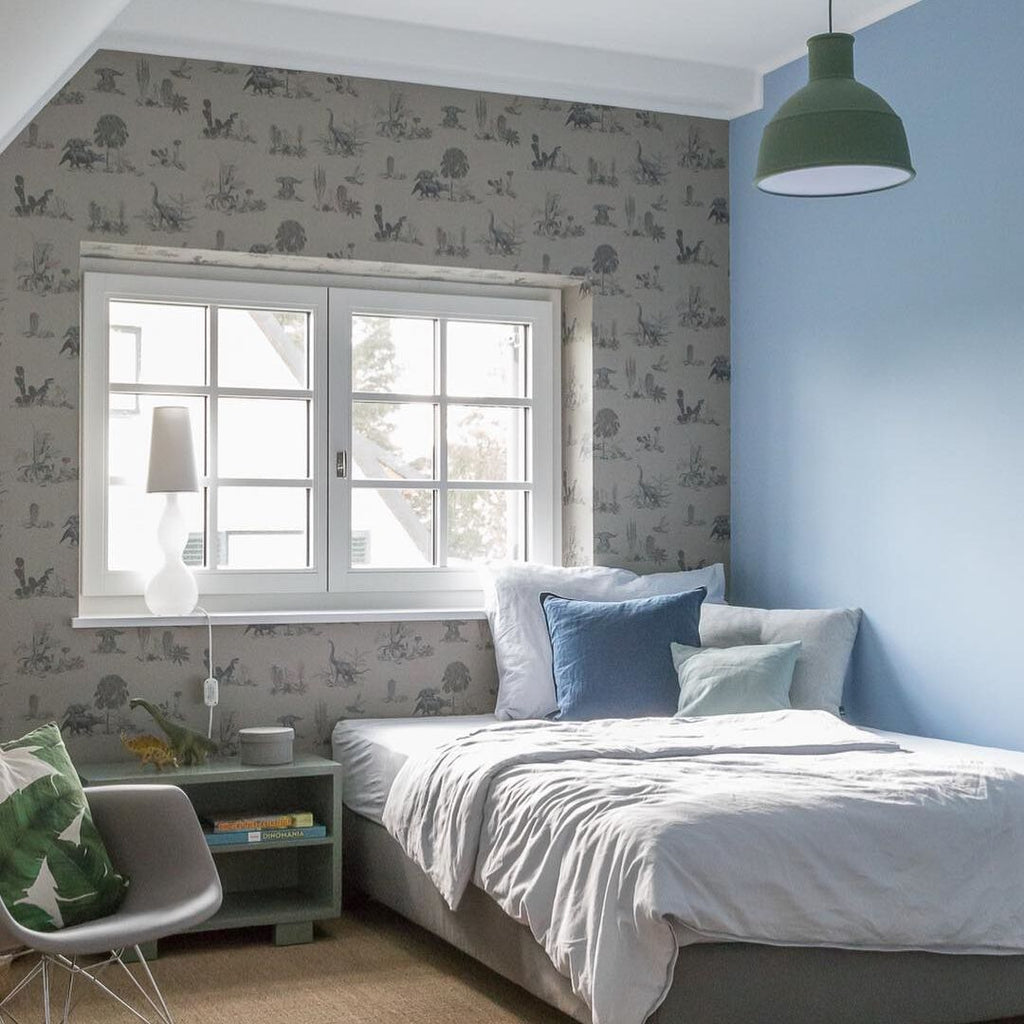 @karinas_littletownlife Dino Wallpaper Grey