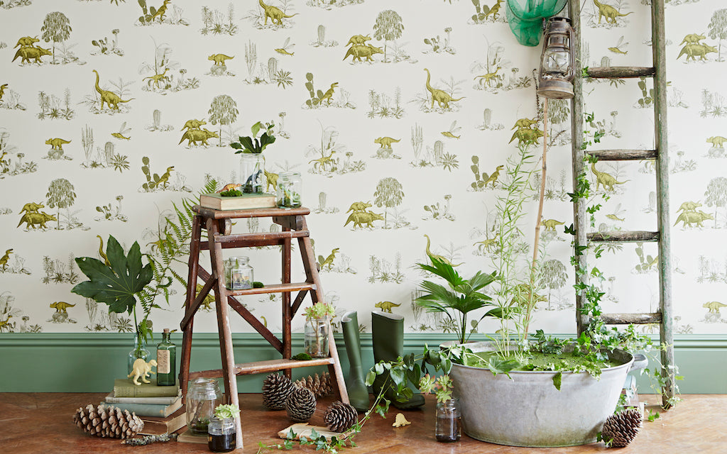 Magnetic Dino Wallpaper Yellow Green