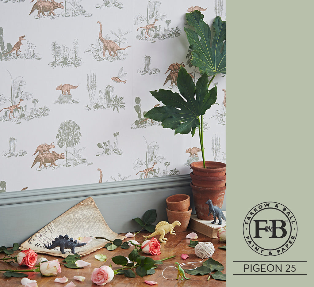 Dino Pink Green Farrow and Ball Pigeon 25