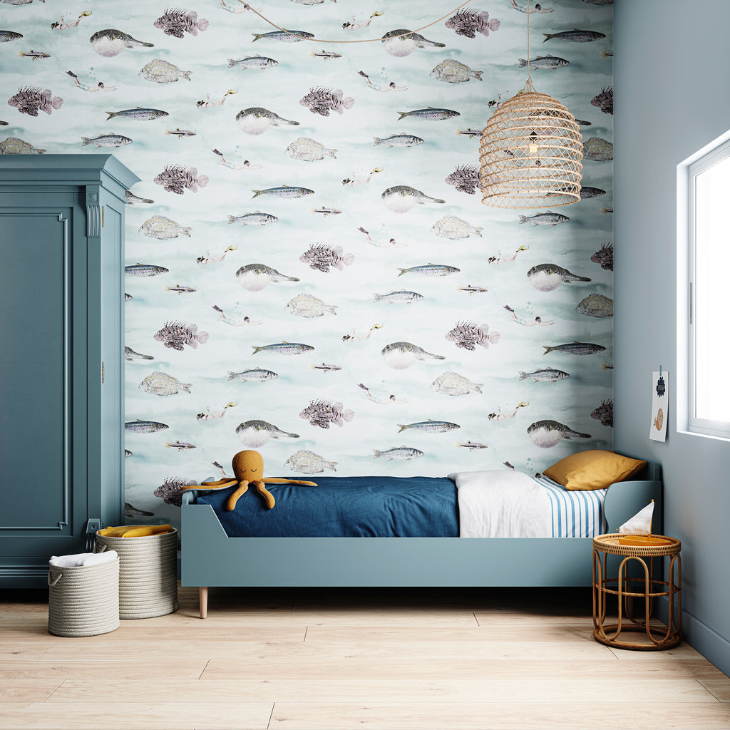 Sian Zeng Fish Wallpaper in Blue Green
