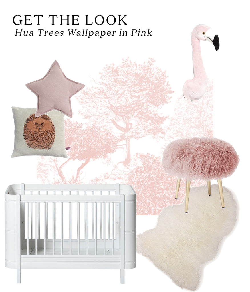 Get the Look - Emily Henderson's dreamy pink nursery, featuring Sian Zeng Hua Trees wallpaper