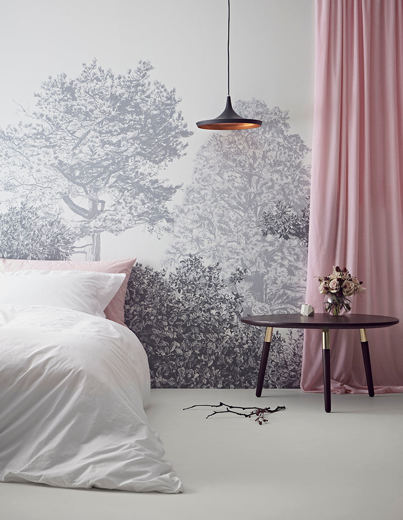 Hua Trees Wallpaper in Grey Sian Zeng