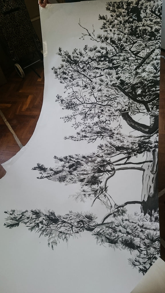 Hua Trees original artwork cut up for the scanner