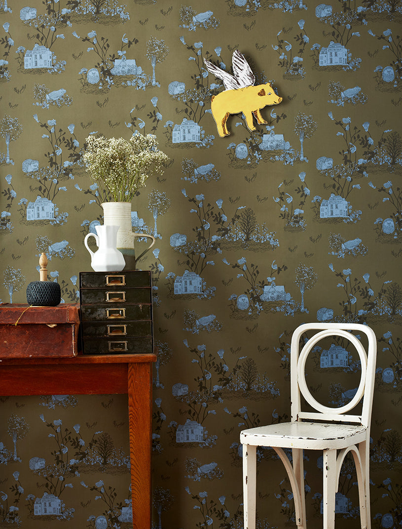 Sian Zeng Woodlands Khaki Blue Wallpaper