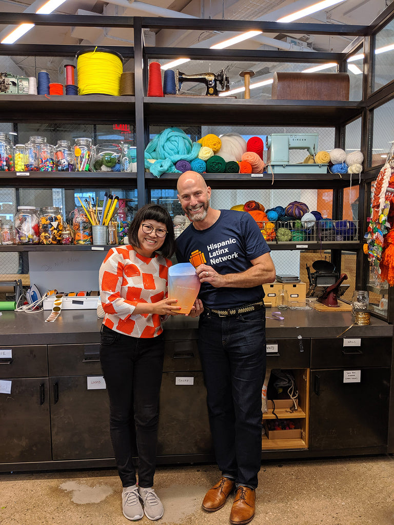 Sian Zeng with Etsy CEO Josh Silverman