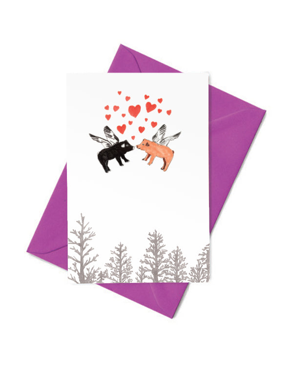Kissing Pigs Card