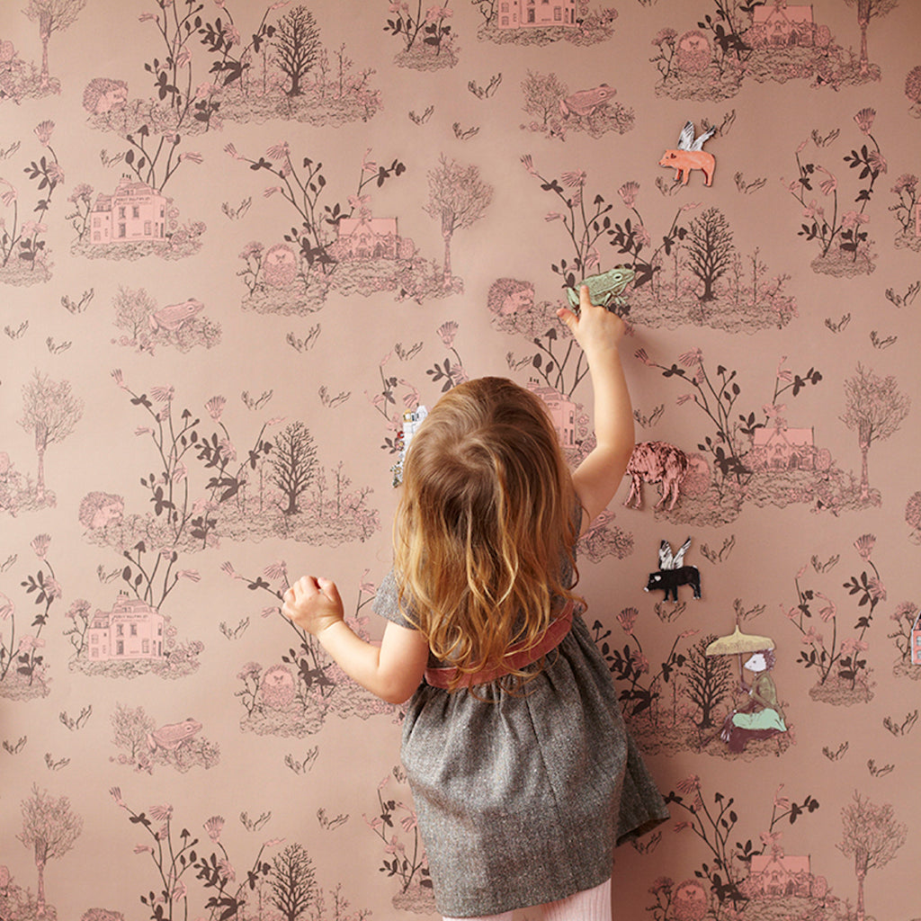 Sian Zeng Woodlands Classic Wallpaper in Brown Pink