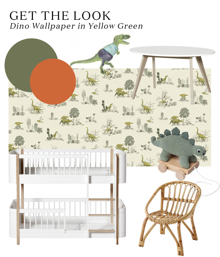 Get the look of Lisbeth Kroll's dinosaur-themed kids bedroom, featuring Sian Zeng dino wallpaper and Oliver Furniture bunk bed