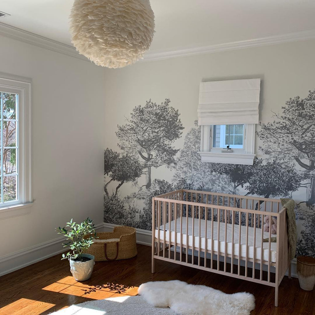 Janete Kang's finished nursery room featuring Hua Trees Mural in Grey