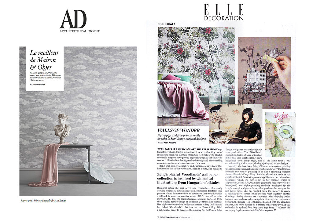 Couverture de presse de Sian Zeng Seasons Collection dans Elle Decoration et Architectural Digest