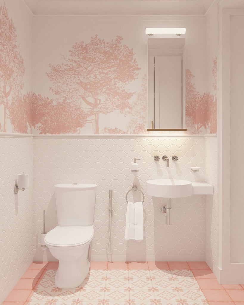 pink and white bathroom scheme with Hua Trees mural wallpaper