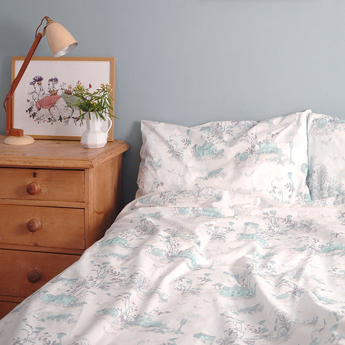 Luxury Single Blue Bedding, 200 Thread Count, Designer. Fun Duvet. Woodlands, Hedgehog, Frog. Gift Boxed.