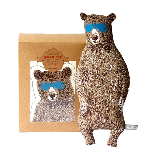 Brown Holiday Bear Kit. Make Your Own, Do It Yourself Craft Kit. Unique Gift Idea.