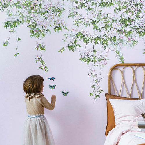 Magnetic Clematis Mural Wallpaper - Pink