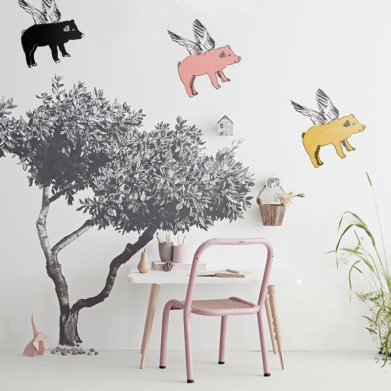 Croatian Fabric Tree Sticker with 3 Flying pigs. Wall Art, Wall Decoration, Designer. Pink, Yellow, Black.