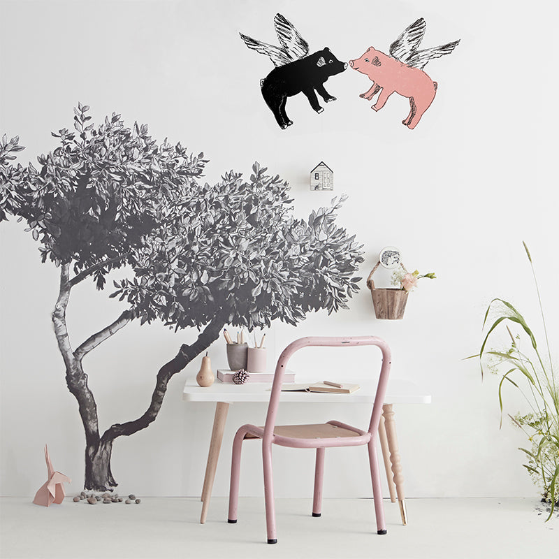 Croatian Tree with 2 Flying Pigs. Wall Art, Wall Decoration, Hand Painted. Black Pig, Pink Pig. Designer.
