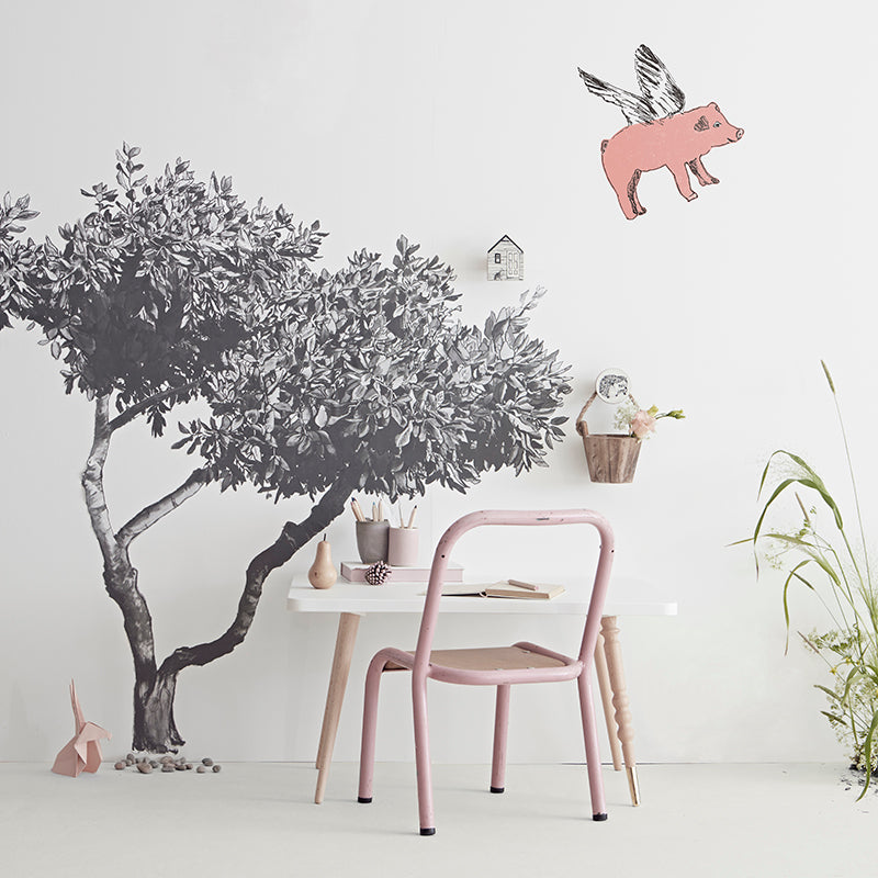 Croatian Fabric Tree Sticker with Pink Flying pig. Wall Art, Wall Decoration, Hand Painted, Designer.