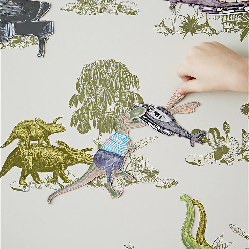 Fun, Magnetic Dinosaur Wallpaper for Children. Yellow, Green. Children's Bedroom. Unique Wallpaper. Designer Wallpaper.