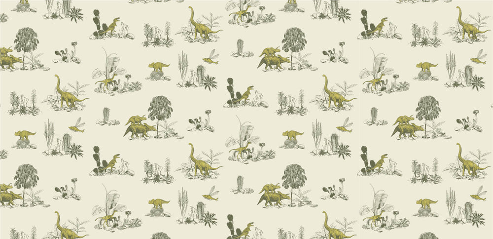 Dinosaur Wallpaper in Yellow Green for Children, Fun Wallpaper, Storytelling Wallpaper, Adventure Wallpaper.