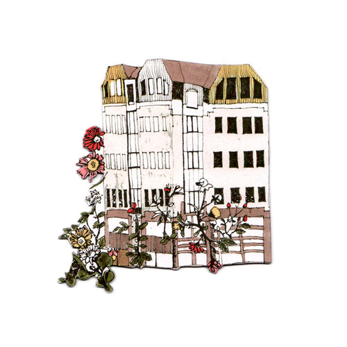 House With Flower Garden Magnet, Hand Drawn, Designer.