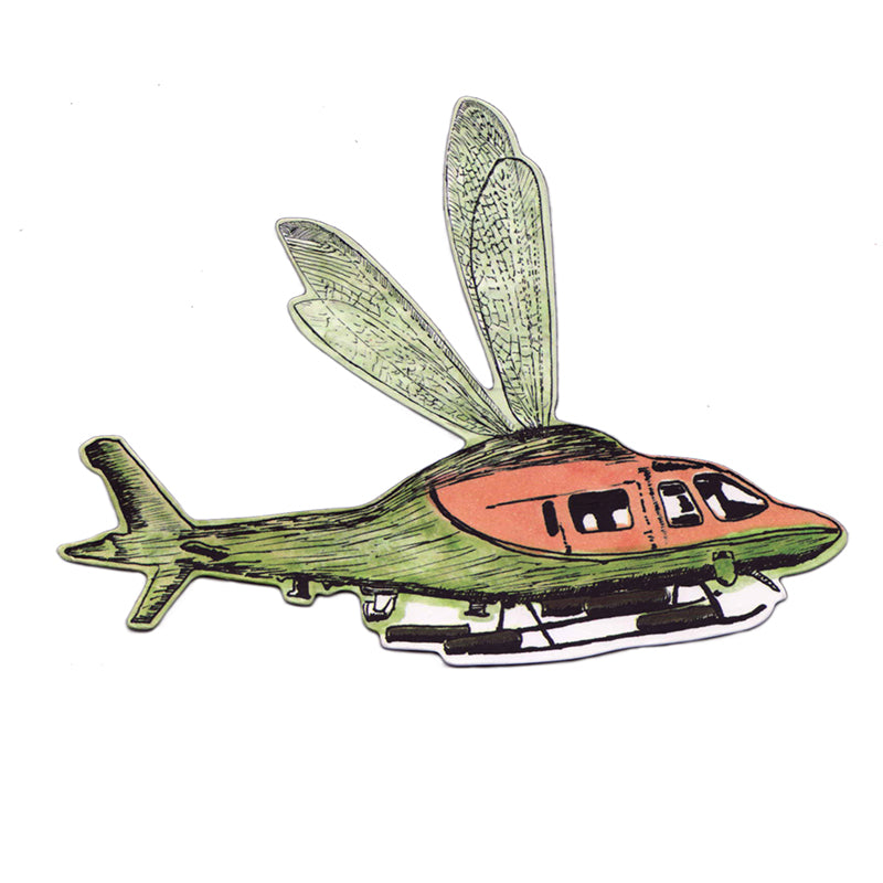 Fun Green Hybrid Helicopter, Fly Magnet. Adventure.