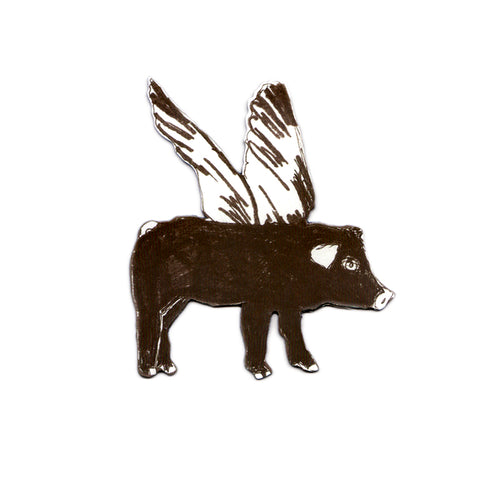 Fun Designer Black Flying Pig Magnet. Storytelling.