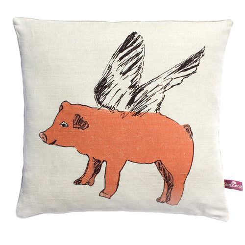 Flying Pig Cushion - Pink