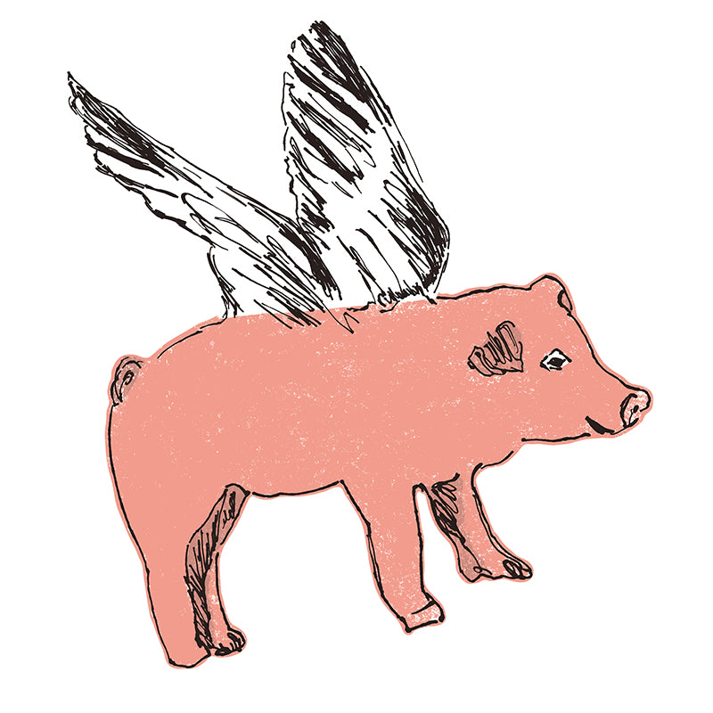 Fun Flying Pig Pink Wall Sticker. Wall Art, Wall Decoration, Designer.