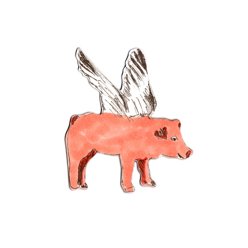 Fun Designer Pink Flying Pig Magnet. Storytelling.