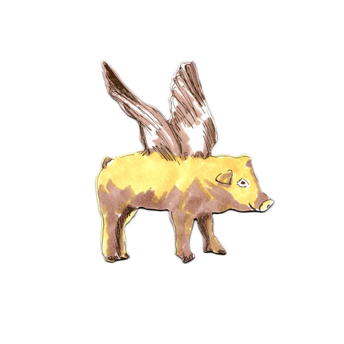 Fun Designer Yellow Flying Pig Magnet. Storytelling.