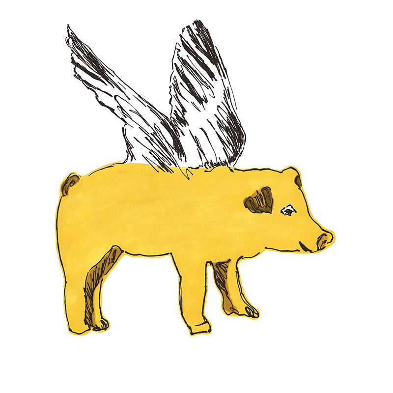 Fun Flying Pig Yellow Wall Sticker. Wall Art, Wall Decoration, Designer.