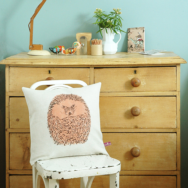 Round Pink Cute Hedgehog Cushion. Designer.