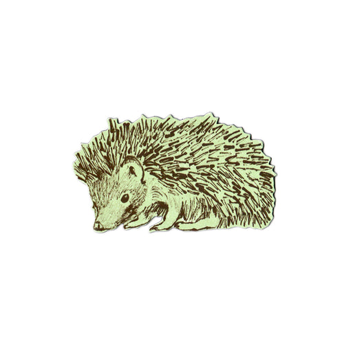 Fun, Green, Sideways Hedgehog Magnet. Designer.