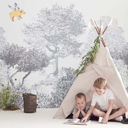 Magnetic Hua Trees Mural - Grey