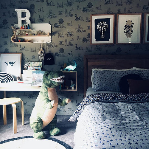 Fun, Magnetic Grey Dinosaur Wallpaper. Children's Bedroom. Unique Wallpaper. Designer Wallpaper.