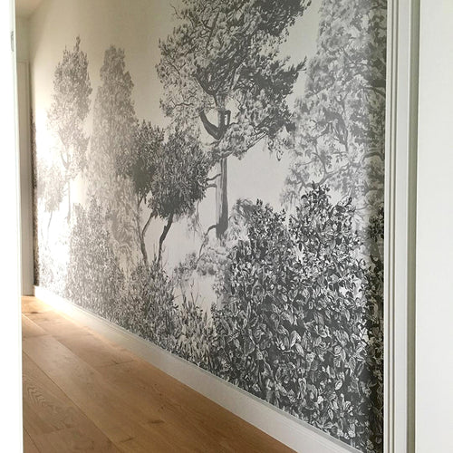 Grey Trees, Forest, Enchanted, Bedroom Wallpaper, Mural. Designer Wallpaper.