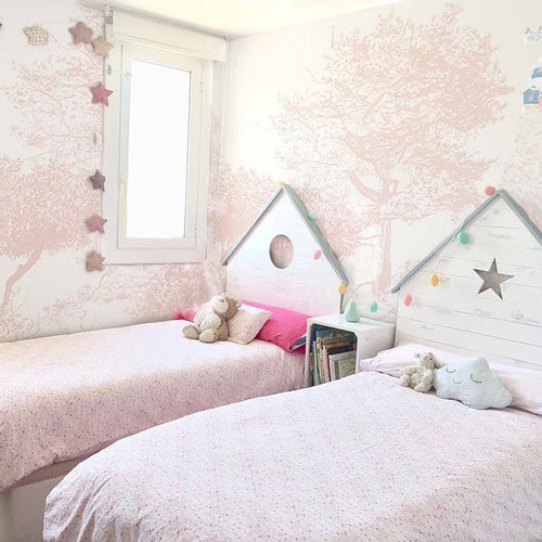 Pink Trees, Forest, Enchanted, Bedroom Wallpaper, Mural. Panelled Wallpaper, Designer Wallpaper.
