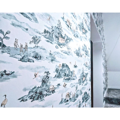 Storytelling Wallpaper, Mountains, Bears, Birds, Chinese Wallpaper, Blue, Peach, Designer Wallpaper.