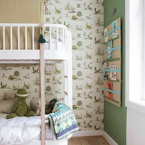 Dinosaur Wallpaper in Yellow Green for Children, Fun, Storytelling Wallpaper.