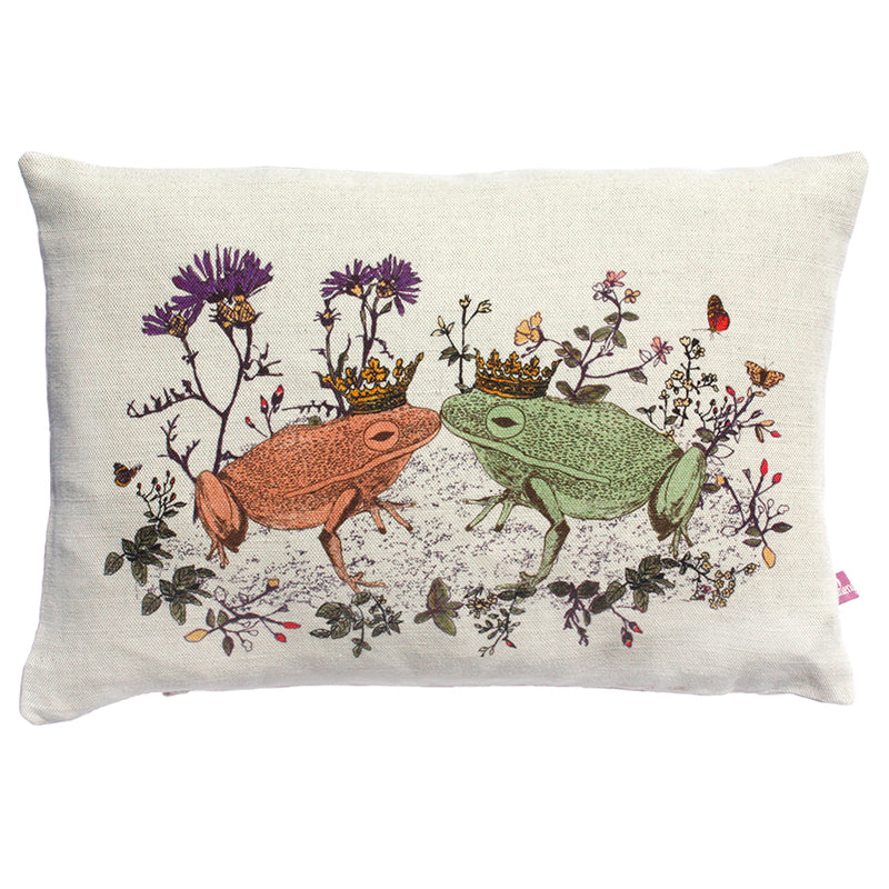 Designer Cushion, Cotton and Linen, Kissing Frogs, Cute and Romantic.