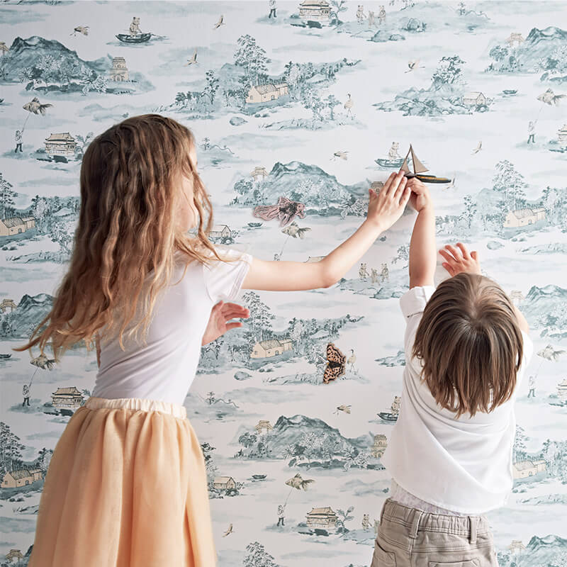 Magnetic Mountains, Bear, Storytelling Wallpaper, Blue, Peach, Fun, Interactive Wallpaper for Children.
