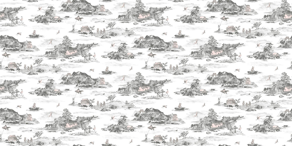 Magnetic Mountains, Bear, Storytelling Wallpaper, Grey, Pink, Fun, Interactive Wallpaper for Children.