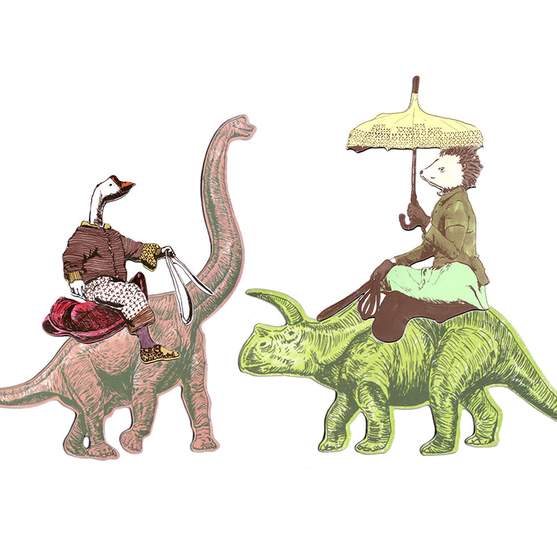 Diplodocus Pink Dinosaur Magnet with Goose Rider. Green Triceratops with Hedgehog Rider. Quirky Magnet.