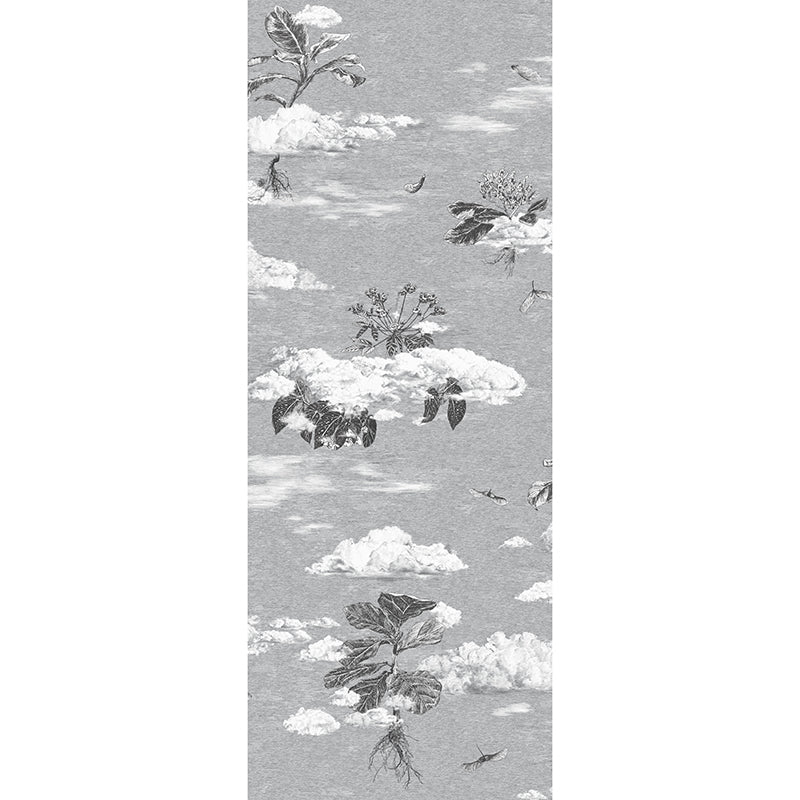 Autumn seeds, seasons wallpaper samples. Designer wallpaper, Black, Grey. Clouds.
