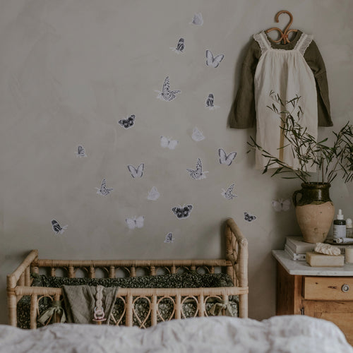 Butterfly Fabric Sticker - Grey