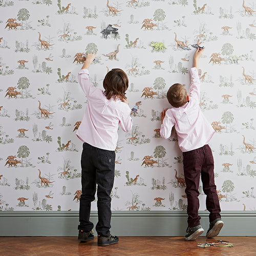 Fun, Magnetic, Pink, Green, Dinosaur Wallpaper. Children's Bedroom. Unique Wallpaper. Designer Wallpaper.
