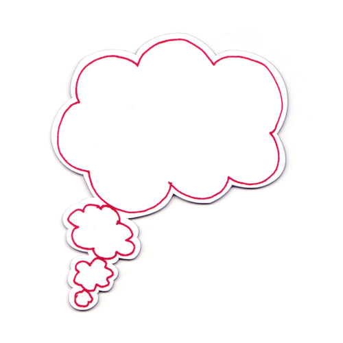 Pink Dry Wipe Thought Bubble Magnet, Storytelling, Write On Magnet, Message Magnet.