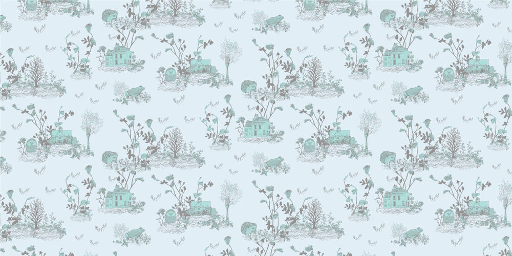 Woodlands Hedgehog, Frog, Blue Wallpaper for children's room