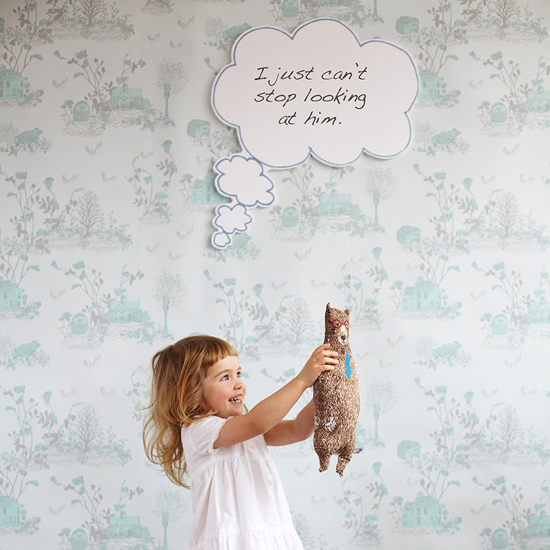 Fun, Magnetic Woodlands Wallpaper for Children. Hedgehog, Frog, Blue, Interactive, Fun.