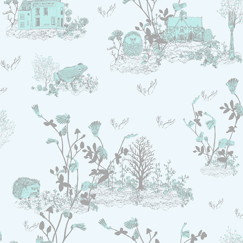 Woodlands Hedgehog, Frog, Blue Fun Wallpaper Sample for Children's Room.